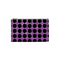 Circles1 Black Marble & Purple Glitter Cosmetic Bag (small)  by trendistuff