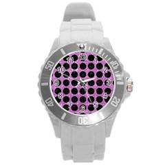 Circles1 Black Marble & Purple Glitter Round Plastic Sport Watch (l) by trendistuff