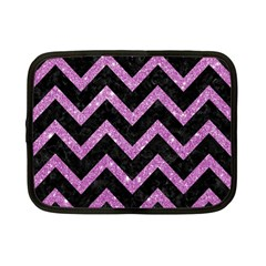 Chevron9 Black Marble & Purple Glitter (r)chevron9 Black Marble & Purple Glitter (r) Netbook Case (small)  by trendistuff