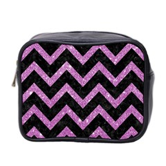 Chevron9 Black Marble & Purple Glitter (r)chevron9 Black Marble & Purple Glitter (r) Mini Toiletries Bag 2 Side by trendistuff