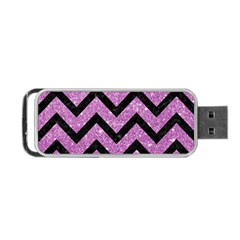 Chevron9 Black Marble & Purple Glitter Portable Usb Flash (two Sides) by trendistuff