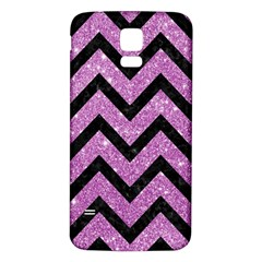 Chevron9 Black Marble & Purple Glitter Samsung Galaxy S5 Back Case (white) by trendistuff