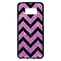 Chevron9 Black Marble & Purple Glitter Samsung Galaxy S8 Plus Black Seamless Case by trendistuff