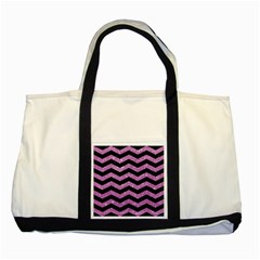Chevron3 Black Marble & Purple Glitter Two Tone Tote Bag by trendistuff