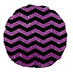 Chevron3 Black Marble & Purple Glitter Large 18  Premium Flano Round Cushions by trendistuff