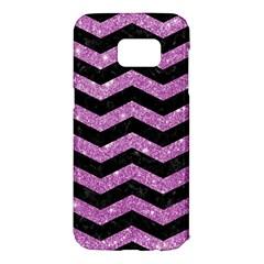 Chevron3 Black Marble & Purple Glitter Samsung Galaxy S7 Edge Hardshell Case by trendistuff