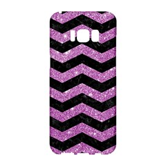 Chevron3 Black Marble & Purple Glitter Samsung Galaxy S8 Hardshell Case  by trendistuff