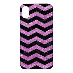 Chevron3 Black Marble & Purple Glitter Apple Iphone X Hardshell Case