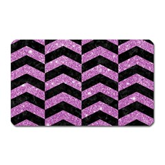 Chevron2 Black Marble & Purple Glitter Magnet (rectangular) by trendistuff