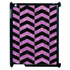 Chevron2 Black Marble & Purple Glitter Apple Ipad 2 Case (black) by trendistuff