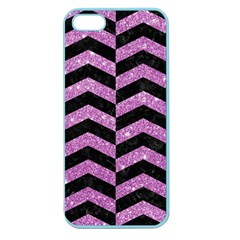 Chevron2 Black Marble & Purple Glitter Apple Seamless Iphone 5 Case (color) by trendistuff