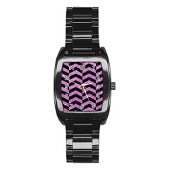 Chevron2 Black Marble & Purple Glitter Stainless Steel Barrel Watch by trendistuff
