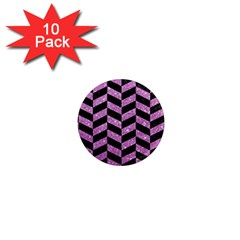 Chevron1 Black Marble & Purple Glitter 1  Mini Magnet (10 Pack)  by trendistuff