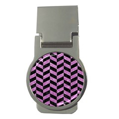 Chevron1 Black Marble & Purple Glitter Money Clips (round)  by trendistuff