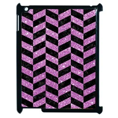 Chevron1 Black Marble & Purple Glitter Apple Ipad 2 Case (black) by trendistuff