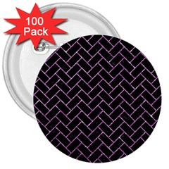 Brick2 Black Marble & Purple Glitter (r) 3  Buttons (100 Pack)  by trendistuff