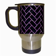 Brick2 Black Marble & Purple Glitter (r) Travel Mugs (white) by trendistuff