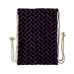Brick2 Black Marble & Purple Glitter (r) Drawstring Bag (small) by trendistuff