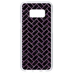 Brick2 Black Marble & Purple Glitter (r) Samsung Galaxy S8 White Seamless Case by trendistuff