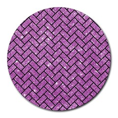 Brick2 Black Marble & Purple Glitter Round Mousepads by trendistuff