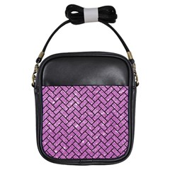 Brick2 Black Marble & Purple Glitter Girls Sling Bags by trendistuff