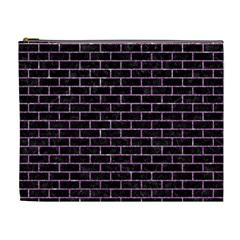 Brick1 Black Marble & Purple Glitter (r) Cosmetic Bag (xl) by trendistuff