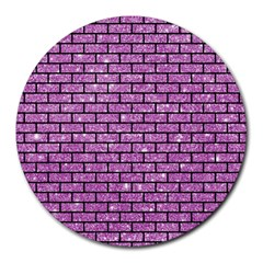 Brick1 Black Marble & Purple Glitter Round Mousepads by trendistuff