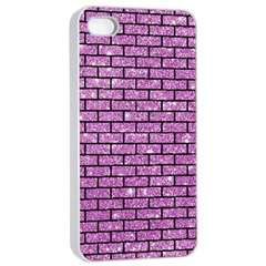 Brick1 Black Marble & Purple Glitter Apple Iphone 4/4s Seamless Case (white) by trendistuff