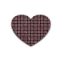 Woven1 Black Marble & Pink Glitter (r) Heart Coaster (4 Pack)  by trendistuff
