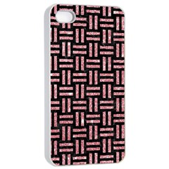 Woven1 Black Marble & Pink Glitter (r) Apple Iphone 4/4s Seamless Case (white) by trendistuff