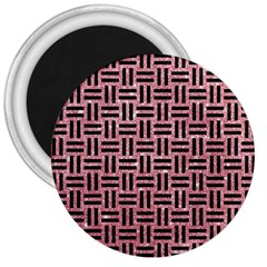 Woven1 Black Marble & Pink Glitter 3  Magnets by trendistuff