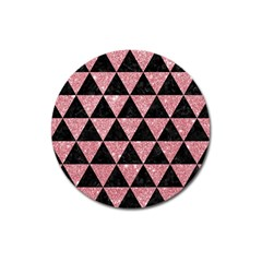 Triangle3 Black Marble & Pink Glitter Magnet 3  (round)