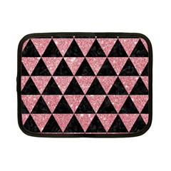 Triangle3 Black Marble & Pink Glitter Netbook Case (small)  by trendistuff