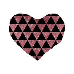 Triangle3 Black Marble & Pink Glitter Standard 16  Premium Flano Heart Shape Cushions by trendistuff