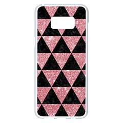 Triangle3 Black Marble & Pink Glitter Samsung Galaxy S8 Plus White Seamless Case by trendistuff