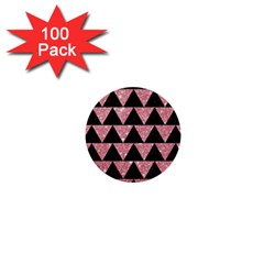 Triangle2 Black Marble & Pink Glitter 1  Mini Buttons (100 Pack)  by trendistuff