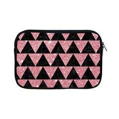 Triangle2 Black Marble & Pink Glitter Apple Ipad Mini Zipper Cases by trendistuff