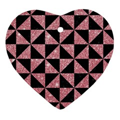Triangle1 Black Marble & Pink Glitter Heart Ornament (two Sides) by trendistuff