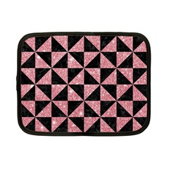 Triangle1 Black Marble & Pink Glitter Netbook Case (small)  by trendistuff