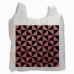 Triangle1 Black Marble & Pink Glitter Recycle Bag (two Side)  by trendistuff