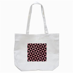 Triangle1 Black Marble & Pink Glitter Tote Bag (white) by trendistuff