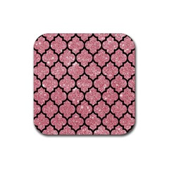 Tile1 Black Marble & Pink Glitter Rubber Square Coaster (4 Pack)  by trendistuff