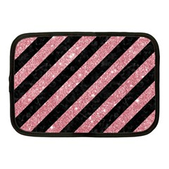 Stripes3 Black Marble & Pink Glitter (r) Netbook Case (medium)  by trendistuff