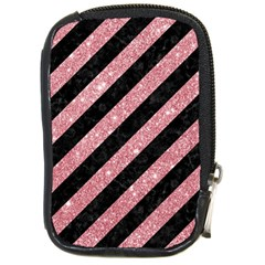 Stripes3 Black Marble & Pink Glitter (r) Compact Camera Cases by trendistuff