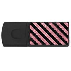 Stripes3 Black Marble & Pink Glitter Rectangular Usb Flash Drive by trendistuff