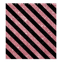 Stripes3 Black Marble & Pink Glitter Shower Curtain 66  X 72  (large)  by trendistuff