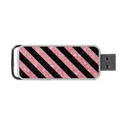 Stripes3 Black Marble & Pink Glitter Portable Usb Flash (two Sides) by trendistuff