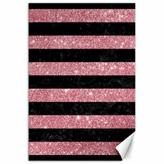 Stripes2black Marble & Pink Glitter Canvas 20  X 30   by trendistuff