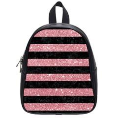 Stripes2black Marble & Pink Glitter School Bag (small) by trendistuff