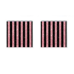 Stripes1 Black Marble & Pink Glitter Cufflinks (square) by trendistuff